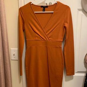 Rust Orange Long Sleeve Dress